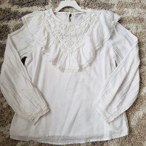 Zara girls lace/ruffled white boho blouse